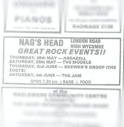 28 May 1977 – The Models – Nag's Head – WYCOMBEGIGS co uk