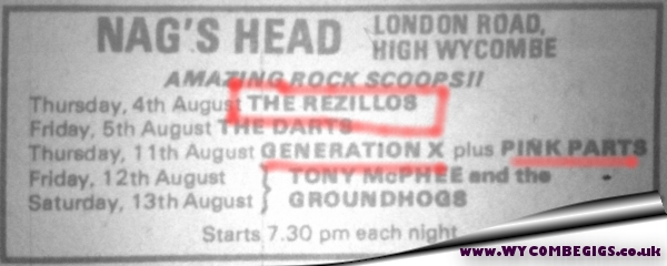 4 August 1977 – Rezillos – Nag's Head – WYCOMBEGIGS co uk