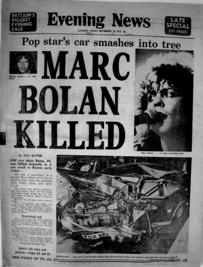 16 september 1977 marc bolan killed in car accident wycombegigs
