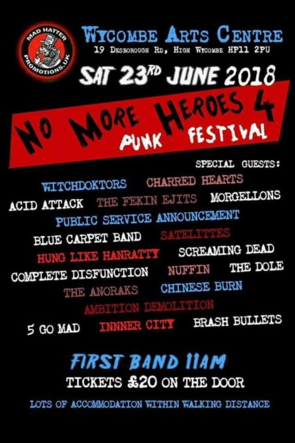 23 June 2018 – No More Heroes 4 – Wycombe Arts Centre