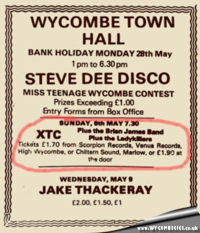 6 May 1979 – XTC/Camera Club/Ladykillers – Town Hall